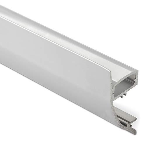 3 x LED Profil-43 Aluminium eloxiert 2000 x 17 x 41 mm mit opaler Abdeckung für LED Streifen bis 12 mm Breite indirekte Beleuchtung Wandprofil Aluprofil Profilleiste Aufbauprofil von SO-TECH®