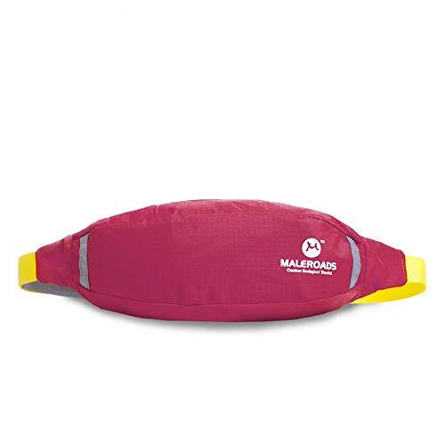 LNLZle Sport, la Meute, Bras de Sac, Hommes et Outdoor Taille Pack, organe Mobile Taille Sac antivol,Rose Red,6 cm