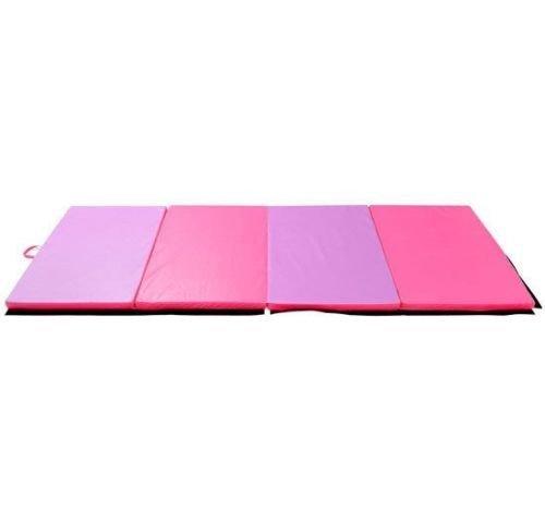 Polar Aurora 4'x10'x2 Thick Folding Gymnastics Exercise Mat Aerobics Stretching Yoga Mats (Purple-Pink)