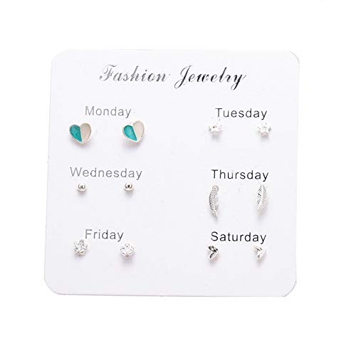 FEARRIN Pendientes Vintage Bohemain Stud Pendientes Set para Mujer Crystal Heart Bow-Knot Star 6 Piezas Mini Pendientes Set Girl Pequeños Accesorios de joyería Regalo LNI0997-4
