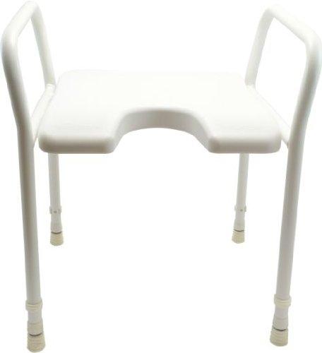 Duschhocker mit Armlehne, Farbe:weiß - Badehocker, Hocker, Duschstuhl, Duschsitz, Duschschemel