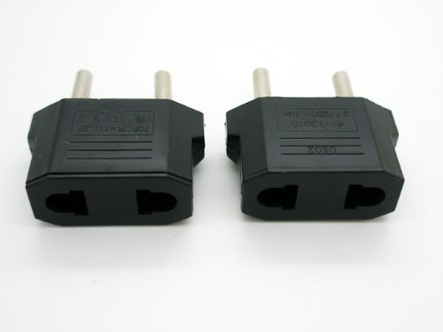 2 x Adaptacion para conector de pared de color negro macho-hembra