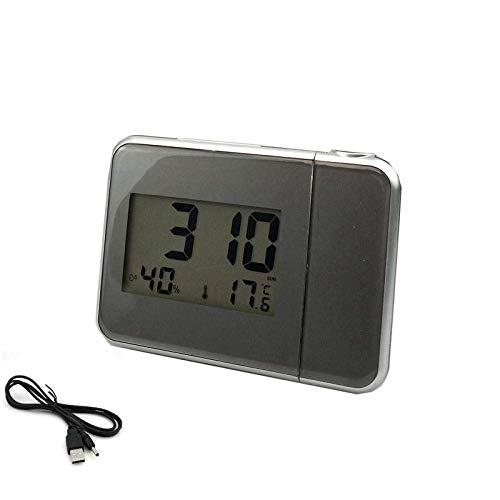 DYB Reloj Despertador Digital Proyección de Tiempo con estación meteorológica Termómetro Calendario...