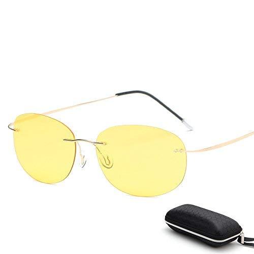 HSDDA Gafas de Sol Deportivas con Estuche Polarized Titanium Silhouette Gafas de Sol Polaroid Gafas Hombres Gafas de Sol Redondas Gafas de Sol para Hombres Gafas de Sol polarizadas