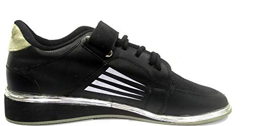 RXN 3 Men's Weightlifting and Gym Black, Gold and Silver PU Shoes- UK 5