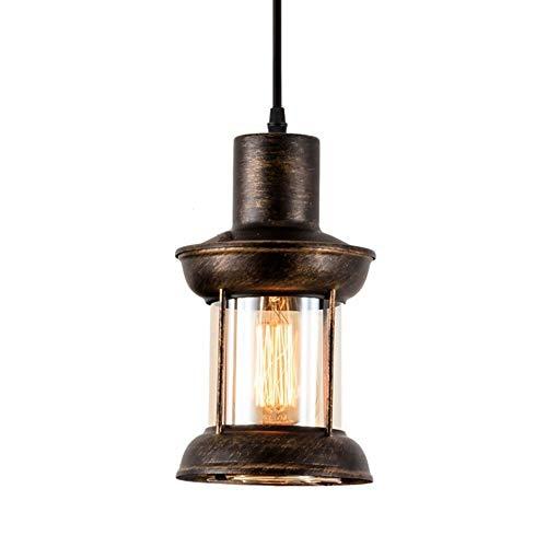 Yaione Weinlese-Leuchter Industrielle Deckenleuchte Petroleumlampe Bronze Retro Lichter klassischer antiker hängender Lampenschirm aus Metall Hängeleuchte Fitting for Loft Dach Cafe Bars Kücheninsel E
