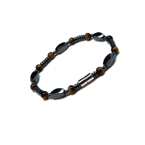 Accents Kingdom Elegant Tiger's Eye Bead Hematite Magnetic Therapy & Healing Stone Bracelet for Arthritis and Carpal Tunnel, 8.5'