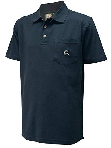 Poloshirt Trachtenhemd Trachten-Hemd Trachtenpolo Trachten-Shirt Polohemd schwarz Polo Trachtenshirt mit Brust-Tasche und Hirsch-Stickerei, Größe:L