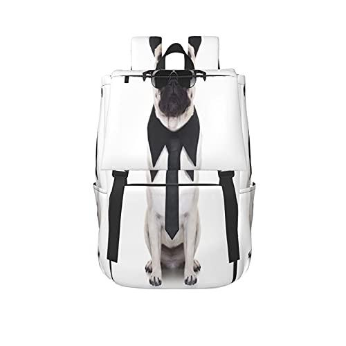 Mochila deportiva de gran capacidad para deportes de ocio al aire libre,Corbata de perro de aspecto genial y grandes gafas de sol negras,Mochilas unisex de negocios,escuela,trabajo,viajes o portátil