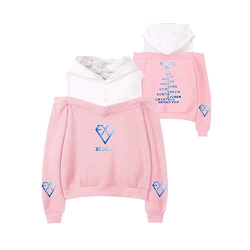 Fittrame EXO Planet Merchandise Off Shoulder Felpa con cappuccio Kpop Cropped con cappuccio, Mocassini eleganti da donna, X-Small