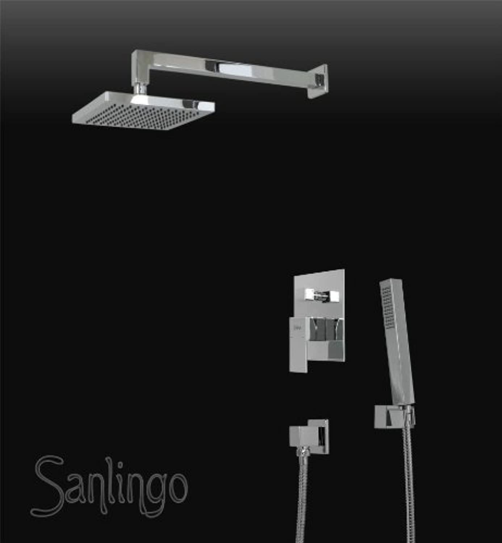 Komplettes Dusch Set Regenschauer Unterputz Armatur Chrom Oval Sanlingo