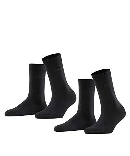 ESPRIT Damen Basic Easy 2-Pack W SO Socken, Blickdicht, Schwarz (Black 3000), 39-42 (2er Pack)