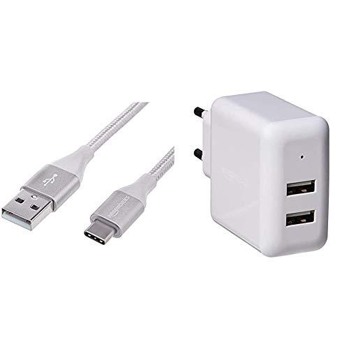 Amazon Basics - Cable macho de USB 2.0 C a USB 2.0 A, de nailon con trenzado doble | 1,8 m, Plateado + Cargador USB de pared de dos puertos (2,4amperios), Blanco