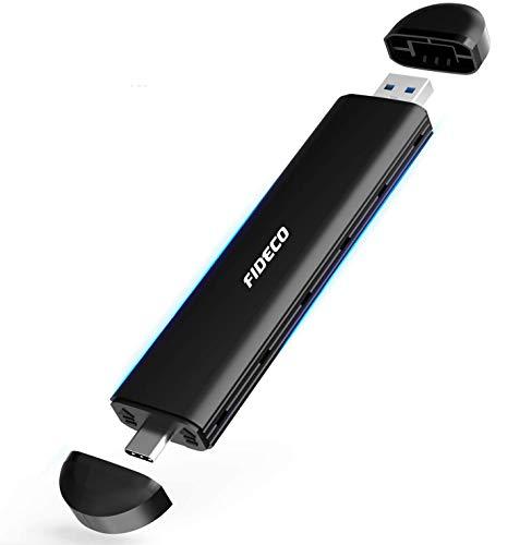 FIDECO M.2 NVME and SATA SSD Gehäuse, USB 3.2, 10Gbps, Gen2 Festplattengehäuse Adapter, Festplatten-Caddy für M.2 NVME oder SATA SSD 2242/2260/2280, Unterstützt M-Key, B-Key und B+M Key