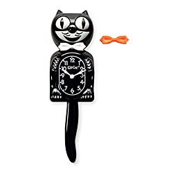 Kit-Cat Classic Black Clock with White and Orange Bow Ties