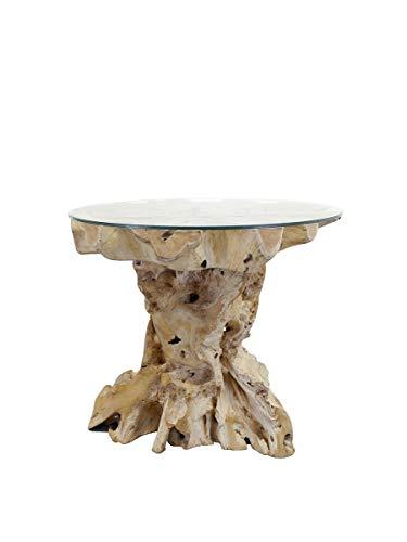 Antike Fundgrube Stehtisch aus Wurzelholz Teak   Bartisch Garten-Tisch   Natur unbehandelt   D: 110 cm (9203)