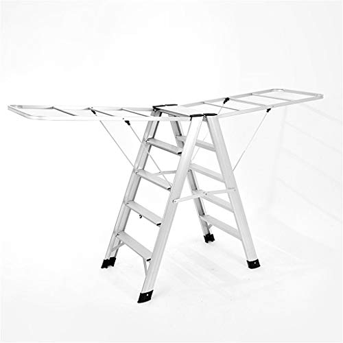 Huishoudelijke Droogrek, schoonheidssalon Handdoekrek Aluminium Metal Stepladders Safety Dual Purpose Five-stap Ladder 2 Kleuren (Color : A, Size : 50 * 86 * 98cm)