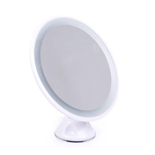 qivange espejo de maquillaje para pared 7x lupa giratorio con luz LED USB Batería baño afeitado espejo (blanco)