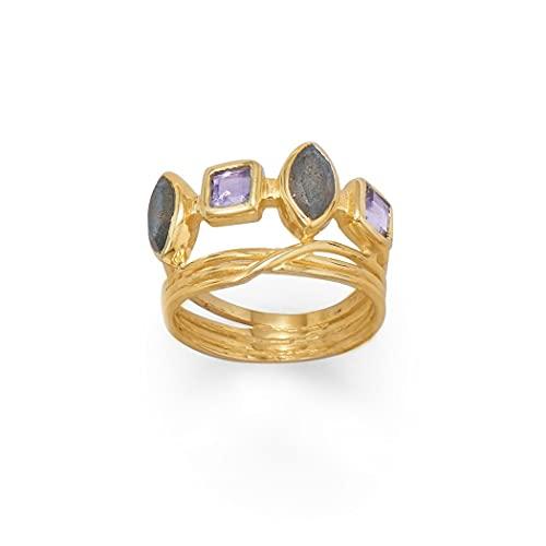 Anillo de plata de ley 925 de 14 quilates con cristales de labradorita y cristal, piedras de 6,5 mm, 4 x 8 mm, piezas de 4 mm, joyas marqués para mujeres, tallas de anillo: L a R, Metal, Labradorite,