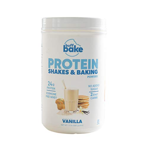 Buff Bake Protein Powder and Baking Mix | Vanilla | High Protein | Low Carbs | No Added Sugar | Gluten Free | Soy Free | 1.5 Pound