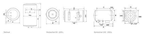 Atlantic Iberica 253025Isolierflasche Concept N4H 80lt Horizontal 1500W