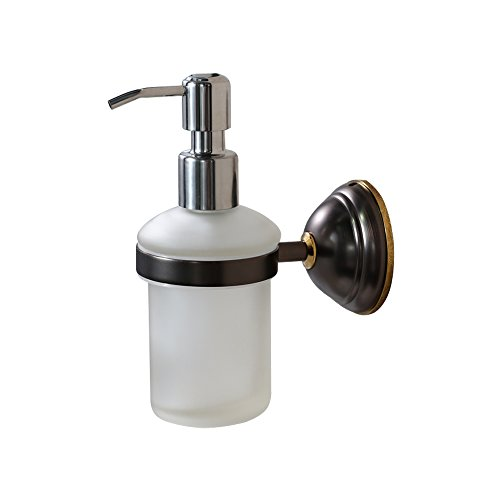 Crown Bronze Soap & Lotion Dispenser Pump Wall Mount Liquid Hand Soap Dispenser for Kitchen Sink/ Bathroom, Solid Brass, Chrome Pump (8 oz)