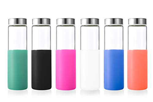 Sursip 20Oz Borosilicate Glass Water Bottle, Reusable Drinking Bottles with Stainless Steel Lid and Silicone Sleeves - BPA Free (Summer Large Mouth 6Pack)