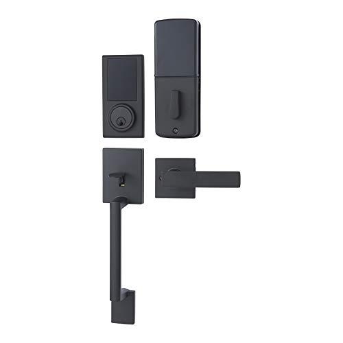 Amazon Basics Grade 3 Electronic Touchscreen Deadbolt Door Lock with Door Handleset - Matte Black