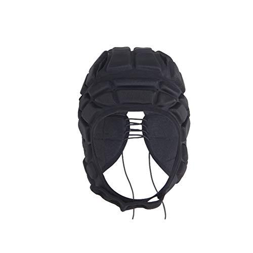 6SHINE Rugby-Rollerhut, Softshell-Schutz-Kopfbedeckung, Schutzausrüstung, Rugby-Kopfschutz, gepolsterter Helm, reduziert Aufprallschutz, Kinderkopf, Ohr, Kinn, nicht null, Schwarz , S