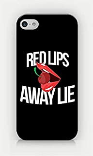 for iPhone 4/4S - Red Lips Away Lie - Sexy - Bitchy - Girly - Cherry - Sassy Quotes