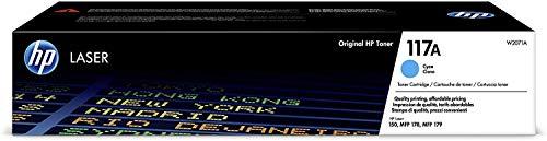 HP Toner 117A W2071A, Cartuccia Originale da 700 Pagine, Compatibile con Stampanti HP Toner Color LaserJet Serie 150 e HP Toner Color Laserjet Serie MFP 170, Ciano