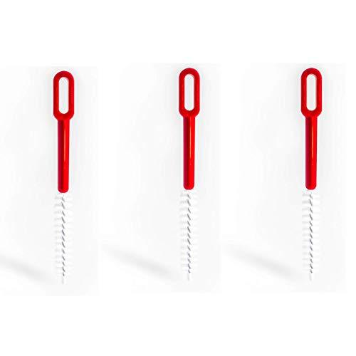 Paulis Kitchen - 3er Set - Reinigungsbürsten für das Reinigen von Töpfen, Thermomix® TM5 TM31 TM6, Mixertöpfen, usw. (Rot/Weiß, 3)