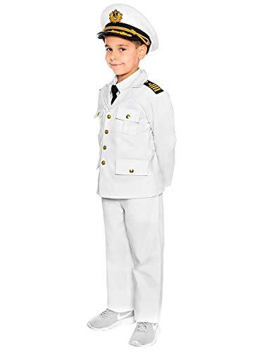 Maskworld Authentisches Kapitän Kinder-Kostüm - Verkleidung Uniform Anzug für kleine Seefahrer - Karneval Fasching & Halloween - Größe 104
