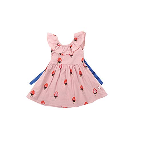 Helen-sky Toddler Baby Girls Ruffle Sleeveless Summer Dress Strawberry Pattern Princess Sundress Breathable Onepiece (Style A, 2T)
