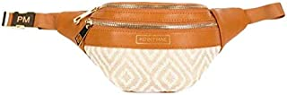 Penny Mae (New) Leather & Fabric Fanny Pack Waist Bag | Brown Cute Trendy Womens All Purpose Travel Bag
