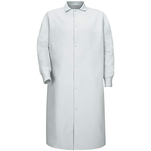 Red Kap Men's Gripper Front Spun Polyester Pocketless Butcher Coat With Knit Cuffs, White, Large