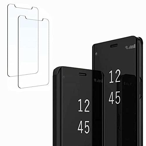 Ttianfa Funda para Xiaomi Redmi 6A Funda Espejo Flip Tipo Libro,Hora Ver Inteligente Fecha Soporte Plegabl Protector Pantalla PU Caso Duro 360 a Prueba de choques Funda con Xiaomi Redmi 6A,Negro