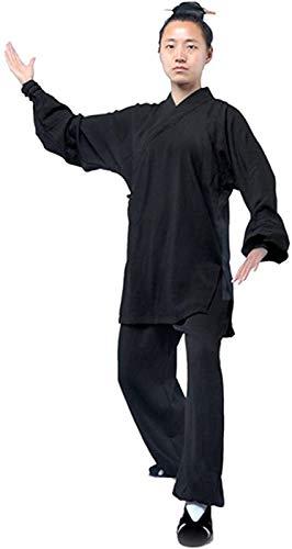 Tai Chi Uniforme Hombre, Ropa De Uniforme De Tai Chi Hombres - Qi Gong Artes Marciales Wing Chun Shaolin Kung Fu Training Dao Ropa Taoísta,Black-3XL