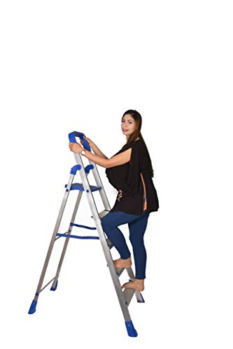 Parasnath Home Pro 5 Step Blue Light Weight Aluminium Heavy Duty Folding Ladder- Made In India