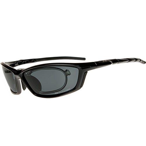 Daisan polarisierende Sonnenbrille Sportbrille mit Optik-Clip - schwarz