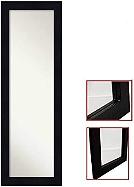 ProDecor Quality Furniture Wood Frame Over The Door Mirror Wall Mount Full Length Mirror Wooden Frame Dressing Mirror Size 14 X 48 Installation Hardware And Instructions Included Black