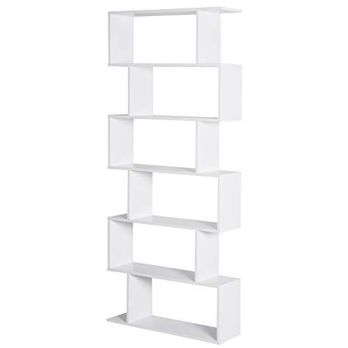 HOMCOM Bücherregal Wandregal Raumteiler mit 6 Fächern Standregal Aktenregal Weiß L80 x B23 x H192 cm