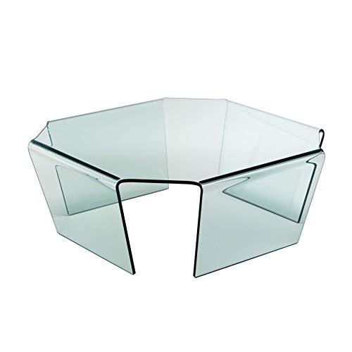 Qriosa Stile Italiano MOD. Bridge Couchtisch aus Glas gebogen
