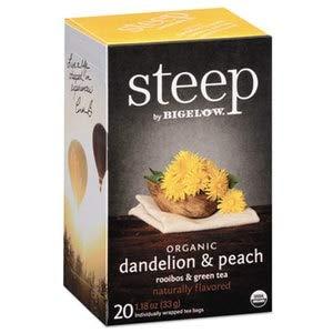 Learn More About Bigelow Steep Tea, Dandelion & Peach, 1.18 Oz Tea Bag, 20/Box