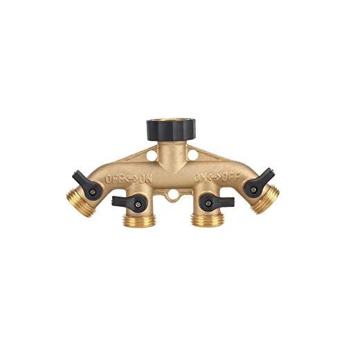 Fdit2 3 4 pollici ottone 4 vie raccordo raccordo raccordo rubinetto rubinetto rubinetto rubinetto per materiali in ottone di qualità irrigazione giardino (# 1)