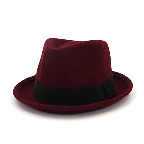 Sombreros de moda, gorras, sombreros elegantes, go Primavera Otoño Invierno Hombres Mujeres 100% Lana Bandas de Fedora De ala ancha Correas negras Británicas Elegante Señora Caballero Sombrero Iglesia