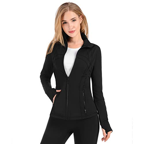 qualidyne Womens Sports Running Yoga Jacket Slim Fit Full Zip Track Jacket Turtleneck Workout Jacket