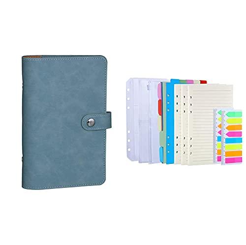 Antner A6 PU Leather Notebook Binder (Blue) Bundle   3 Pack A6 Refill Paper, 2 Pack 160pcs Neon Page Markers, 10pcs Binder Dividers, 3pcs Binder Pockets