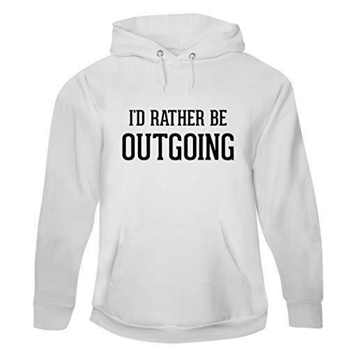 Sudadera con capucha para hombre, diseño con texto en inglés'I'd Rather Be Outgoing', Blanco, XX-Large