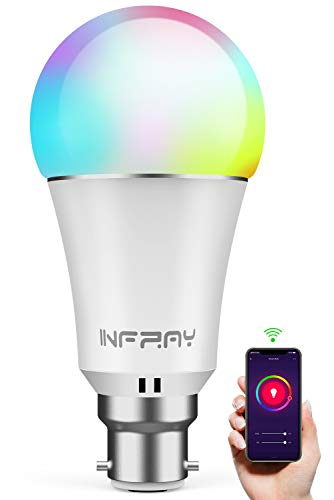 WiFi Smart Bulb, Infray B22 Bayonet 9W Smart Light Bulb Compatible with Alexa, Google Home and IFTTT, Colour Dimmable RGBW Smart LED Bulbs, 60W Equivalent Remote Controlled No Hub Required